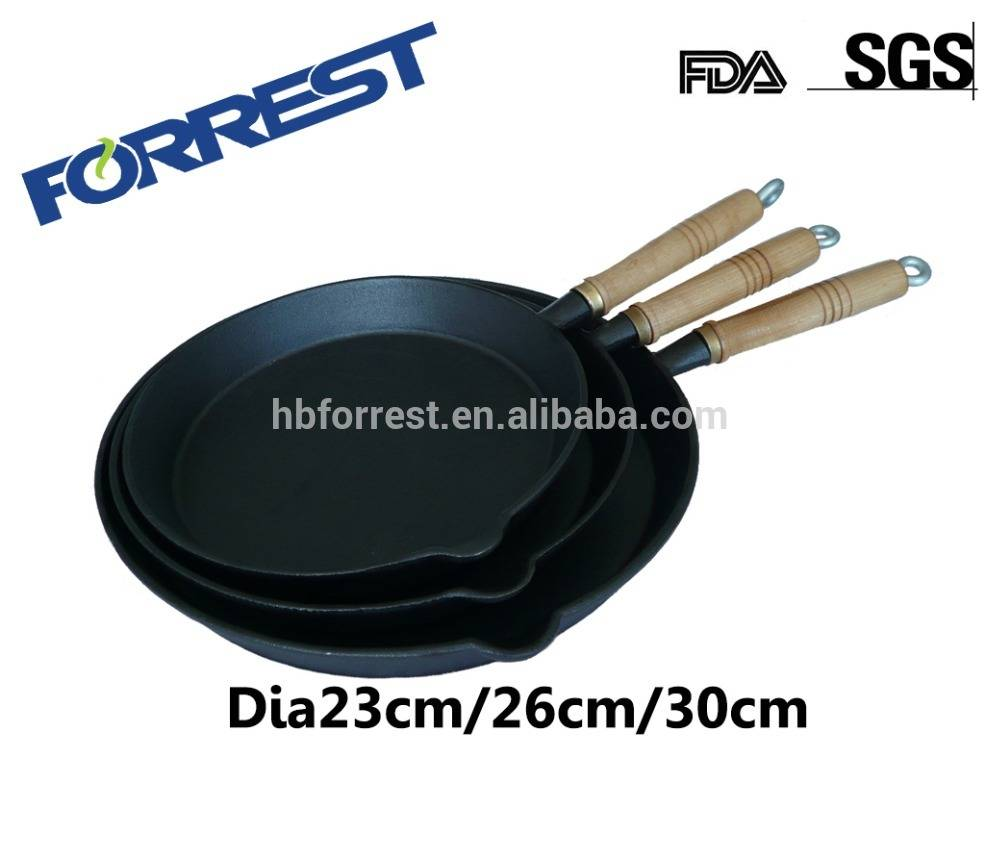 Cast Iron Frying Pan with holder wooden handle