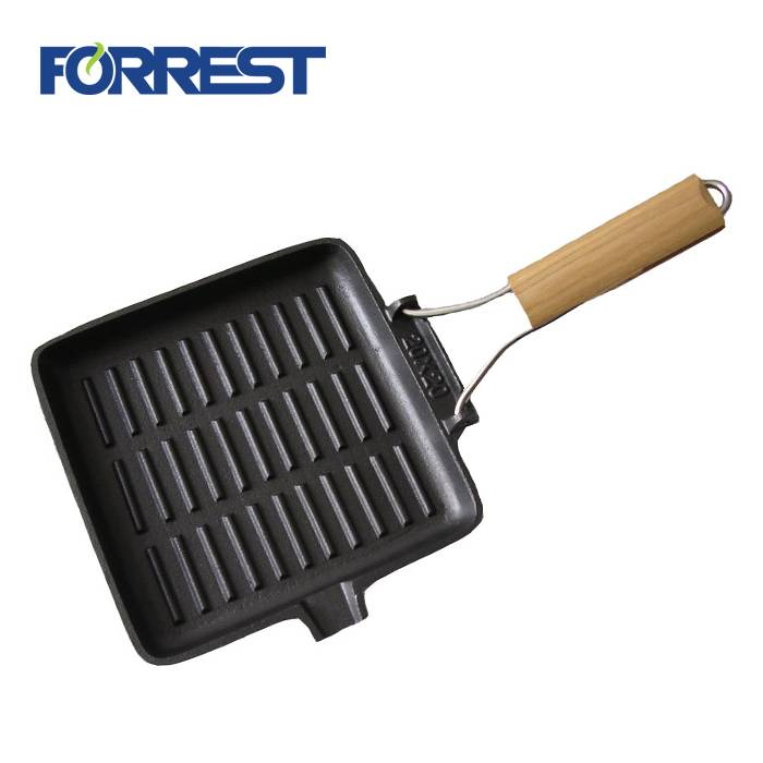 Factory Cheap Cast Iron Pizza Grill Pan - Rectangular Wood Handle Cast Iron Griddle Pan – Forrest