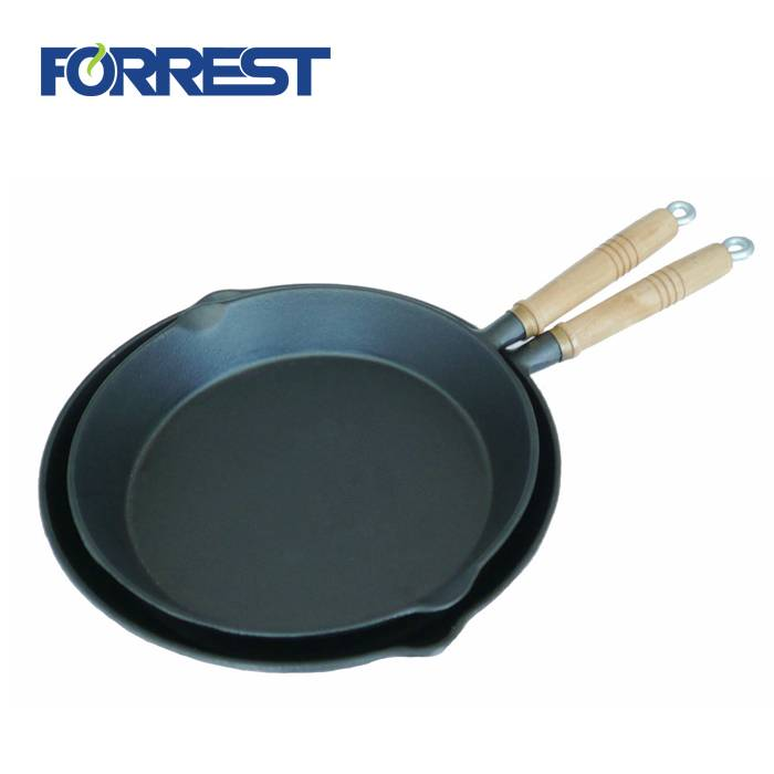2018 High quality Cast Iron Frying Pan - Popular Cast Iron Enameled Stir Fry Skillet Dish Frying Pan With Wooden Handle – Forrest