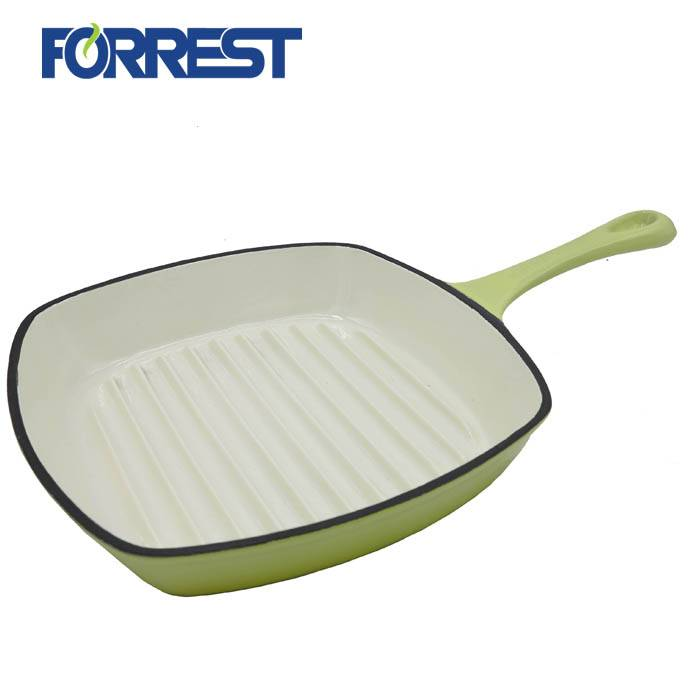 Rectangular Enameled Cast Iron Griddle Grill Pan With Long Handle