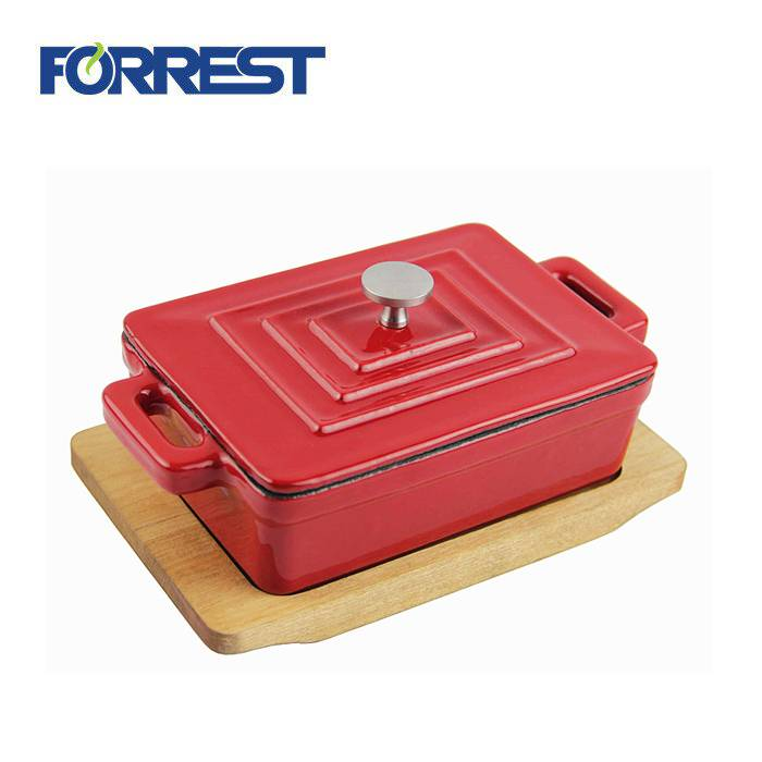Quality Inspection for Flat Iron Griddle - Hot Sale Rectangular Cast Iron Mini Csserole Dish Enamel Cookware Casserole With Wooden Base – Forrest
