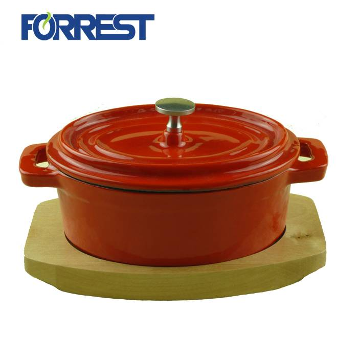 High Quality Iron Cast Grill Pan - Cookware Cast iron Enamel  oval Casserole Dish with Lid – Forrest