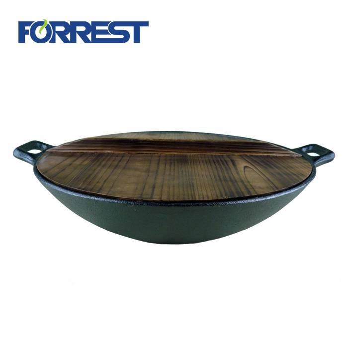 8 Year Exporter Cast Iron Wood Heater - Hot Sale Cast Iron Stir Frypan Flat Base Wok With Wooden Lid For Cookware – Forrest
