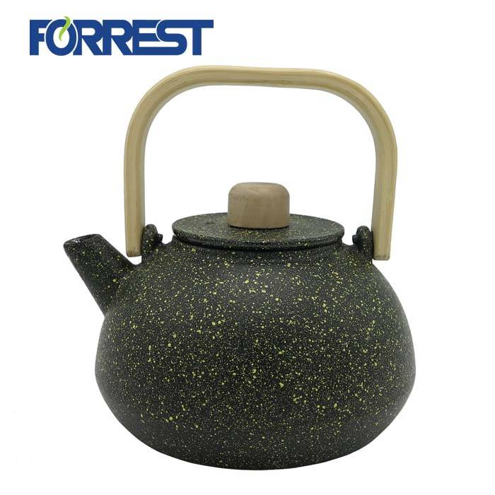 Cheap price Gold Cast Iron Teapot - wholesale  metal kettle with bamboo handle cast iron enamel teapot – Forrest