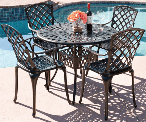 Chinese wholesale Modern Garden Planters - Balcony Metal Garden Table Set Outdoor Garden Furniture Cast Antique Aluminum Outdoor Patio Table and Chair – Top Asian