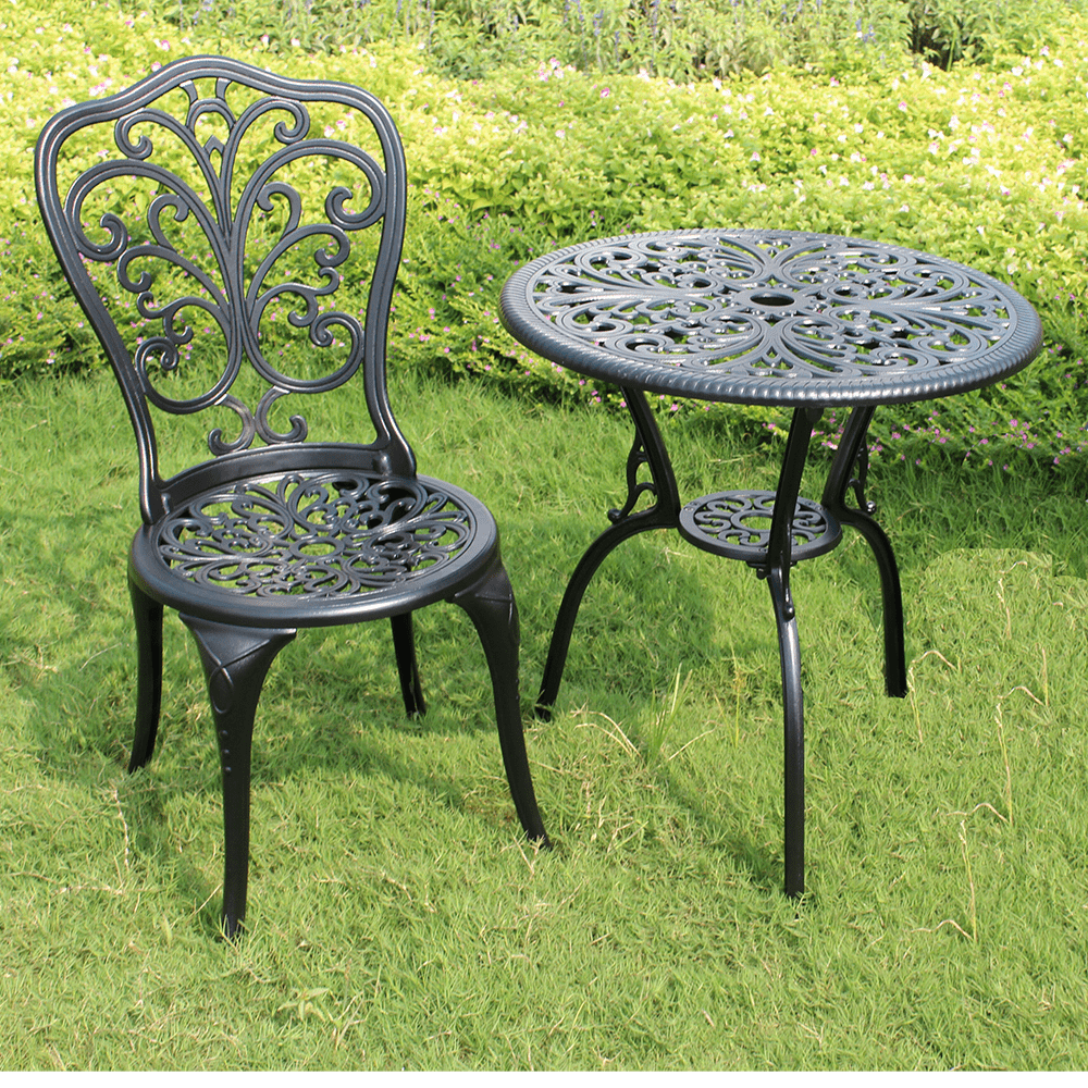Cast aluminum garden furniture dining table set