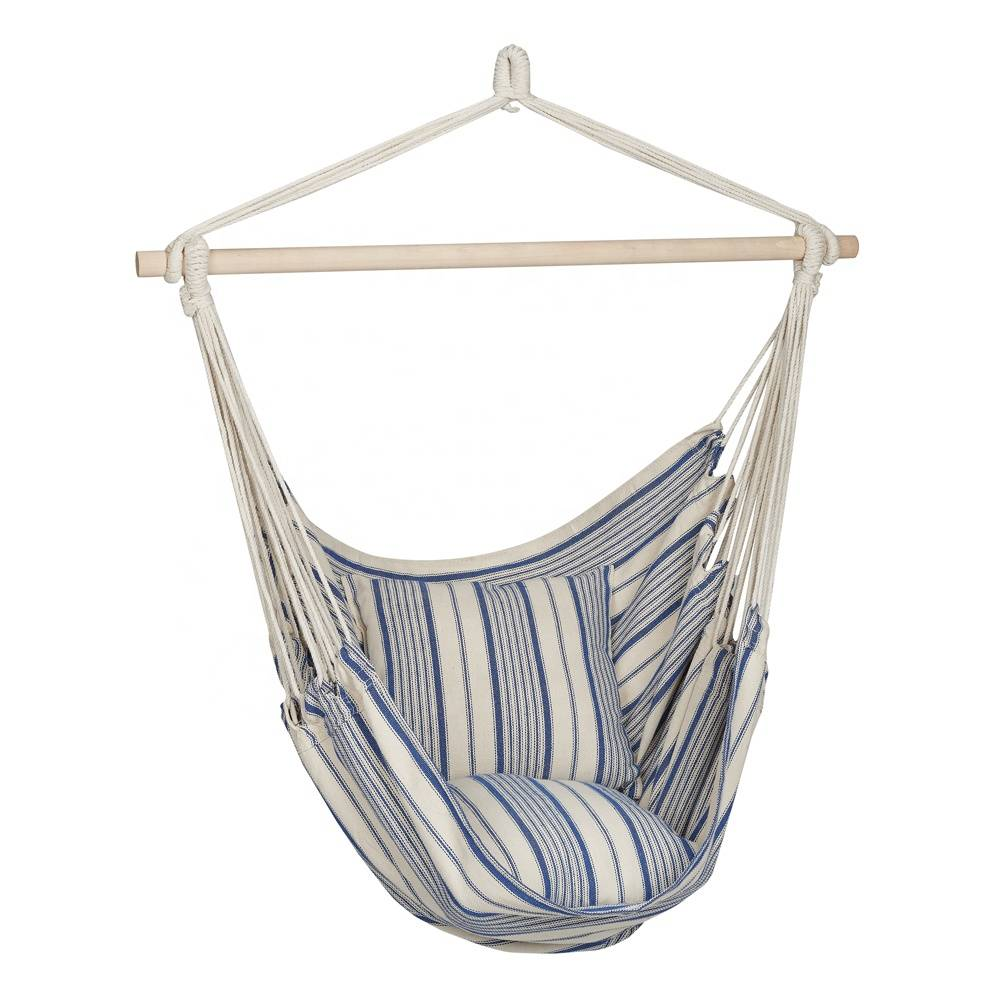Striped Hanging Hammock Chair with Pillows Featured Image