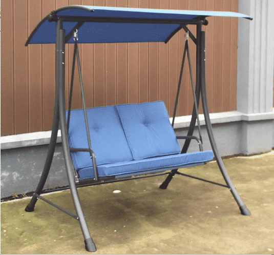 Patio Steel Two Person Canopy Swing Chair Hammock Seat Cushioned Comfortable Seats Garden Swing
