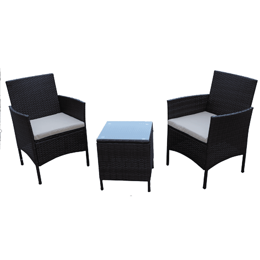 Outdoor Garden Furniture Steel KD Rattan/Wicker Sofa Set 3PCS