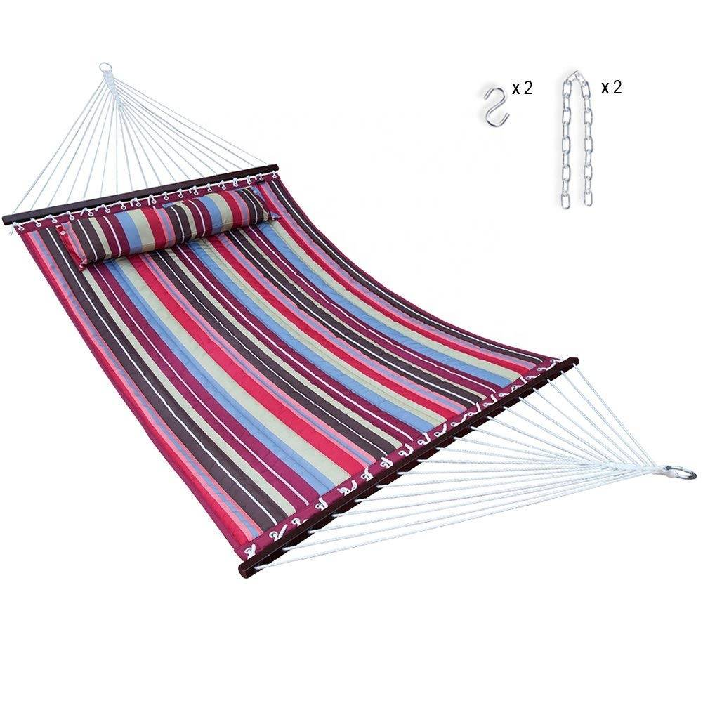 Multi Color High Quality Quilted StripedHammock with Pillow Hanging Hammock