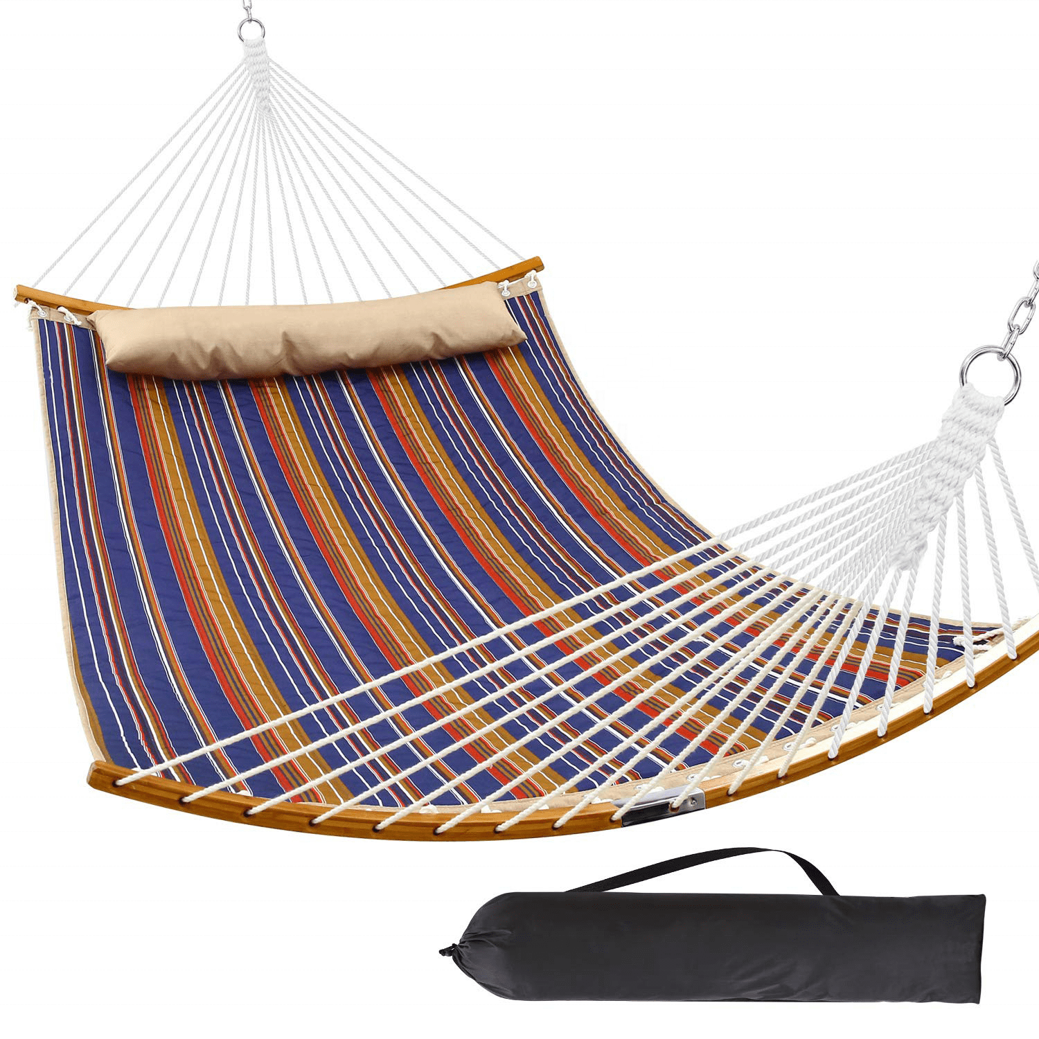 Deluxe Curved Bamboo Quilted Hammock With Pillow  Folding Hammock swing