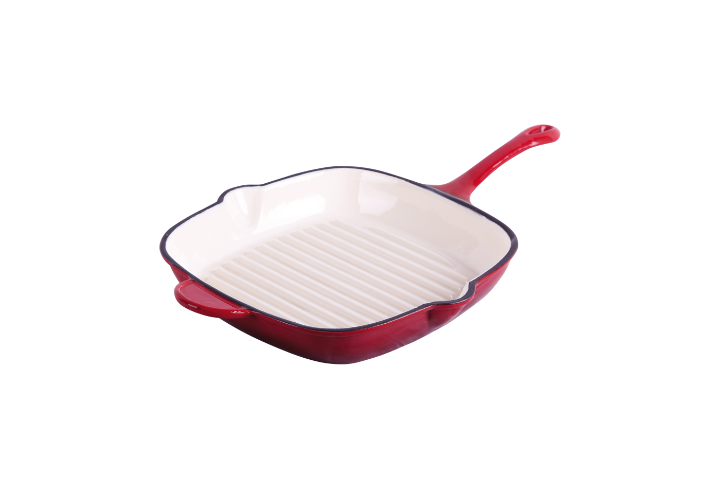 cast iron red enameled skillet 28cm
