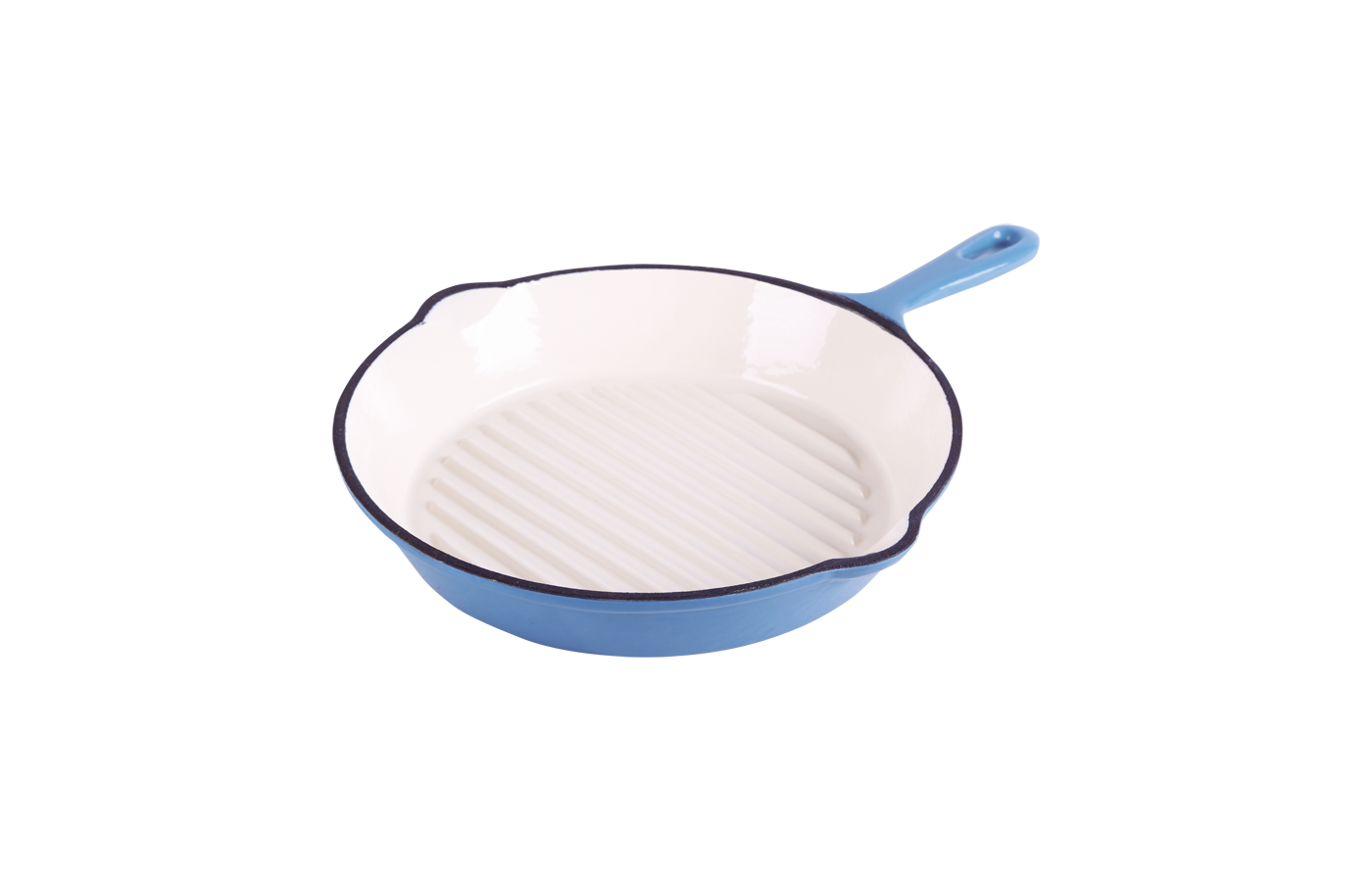 cast iron round blue enameled skillet