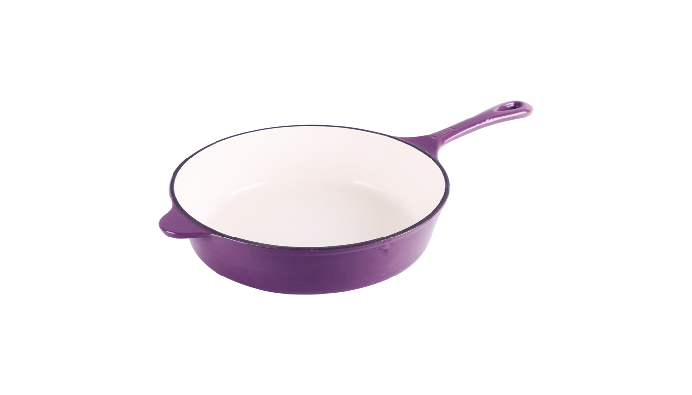 cast iron purple enameled fry pans