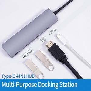 H03PD 4 IN 1 Type C To 4K HDMI, PD 100W, 2xUSB 3.0 HUB