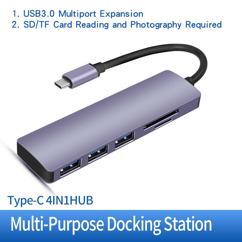 Reasonable price Usb C Mini Hub - H12 5 IN 1 USB-C To 3xUSB 3.0, SD, TF Card Rearder HUB – Huachuang detail pictures