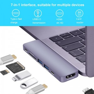7 IN 1 USB C HUB For Macbook Pro & Air with Thunderbolt 3, 4K HDMI,USB-C, USB3.0,SD,TF Card Reader