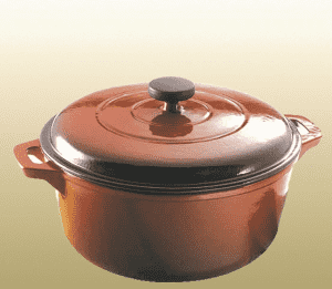 casting iron pot size 25cm in brown color