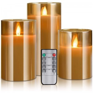 LED flameless candle battery operated, real wax moving effect flickering glass candle set with remote timer