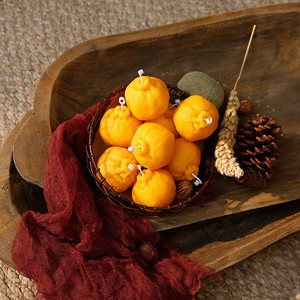 Supply high quality scented orange tangerine shape candle for home decoration
