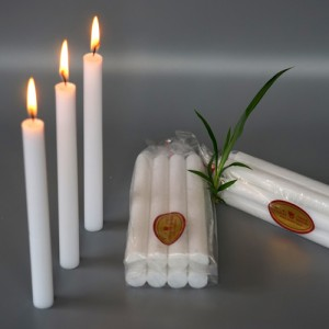 Bright white household candles with bag package