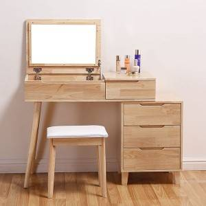 oak Flip-Up Mirror and Jewelry Storage
