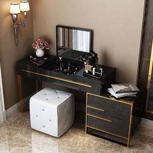 YF-T5 Modern Bedroom Makeup Table and Cushioned Stool Set
