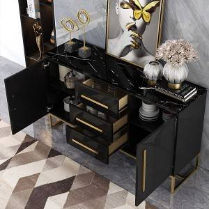 YF-H-802-2 Black Buffet Table 2 Doors & 3 Drawers