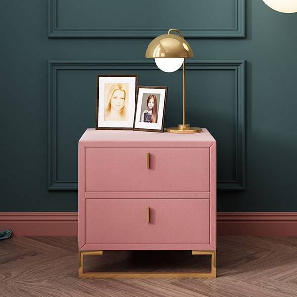 YF-H-211 Pink Velvet Nightstands 2 Drawers Wood Nightstand Bedside Table Gold Base Featured Image