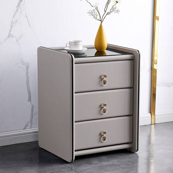 YF-H-213 Silver Furniture Faux Leather Contemporary Nightstand Featured Image