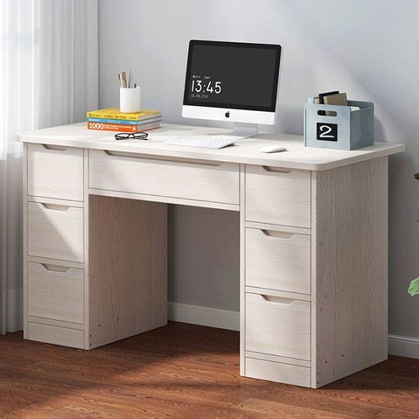 7 drawers writing computer desk for home office, for teens' study room. In white and oak color. With bookshelf Featured Image
