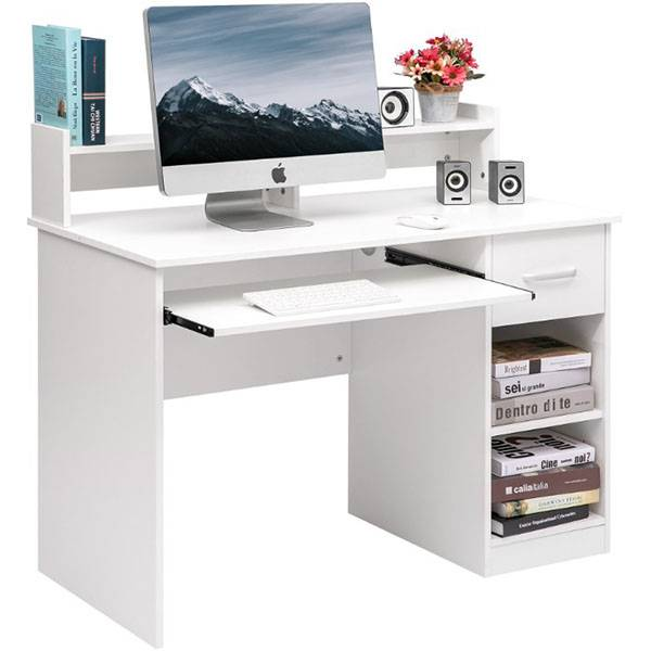 Modern compact computer desk for home office with 1 drawer, 2 open cabinet, 1 lower shelf Featured Image