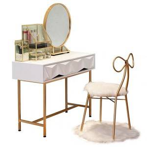 YF-T7 Makeup Vanity TableLarge Mirror & Cabinet & DrawerTribesigns Vanity Makeup Table