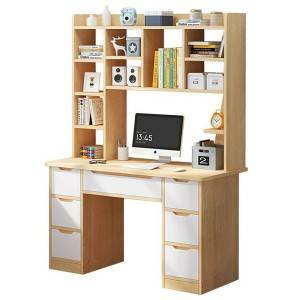 7 drawers writing computer desk for home office, for teens' study room. In white and oak color. With bookshelf