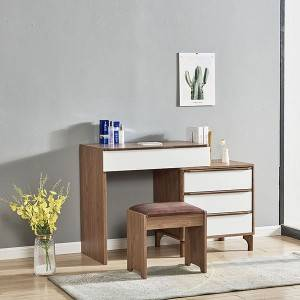 Modern Vanity Table with Mirror and 5 Drawers