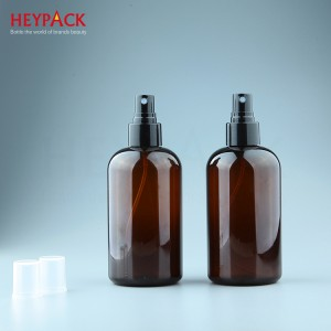 Bottom price Cosmetic Plastic Bottle - 8oz amber plastic bottle with black spray pump – HEYPACK