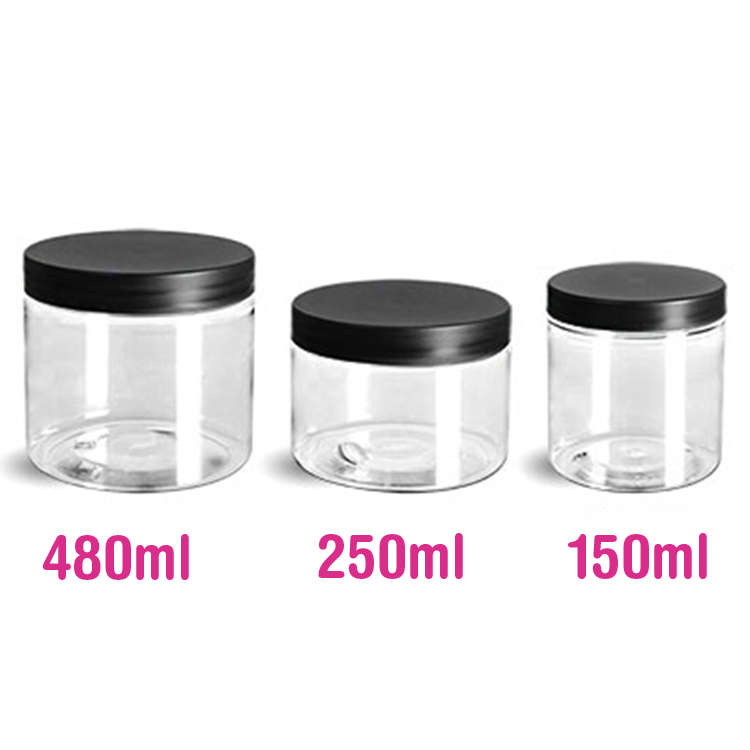 PT15203 Black Cap Transparent Plastic PET Jar 250ml 150ml 500ml