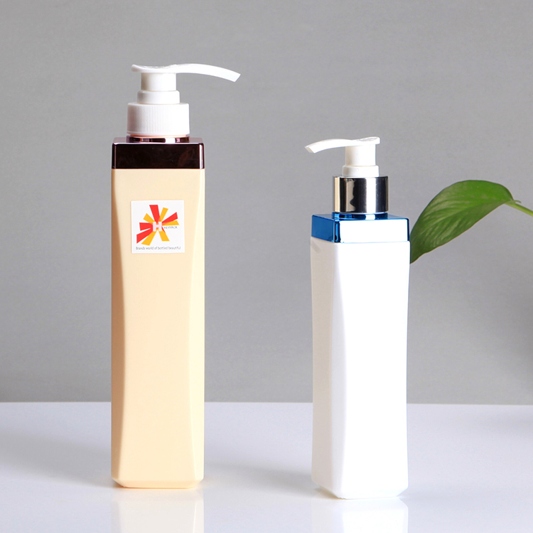 Electroplating metallic collar 300ml 500ml 750ml square shampoo bottle