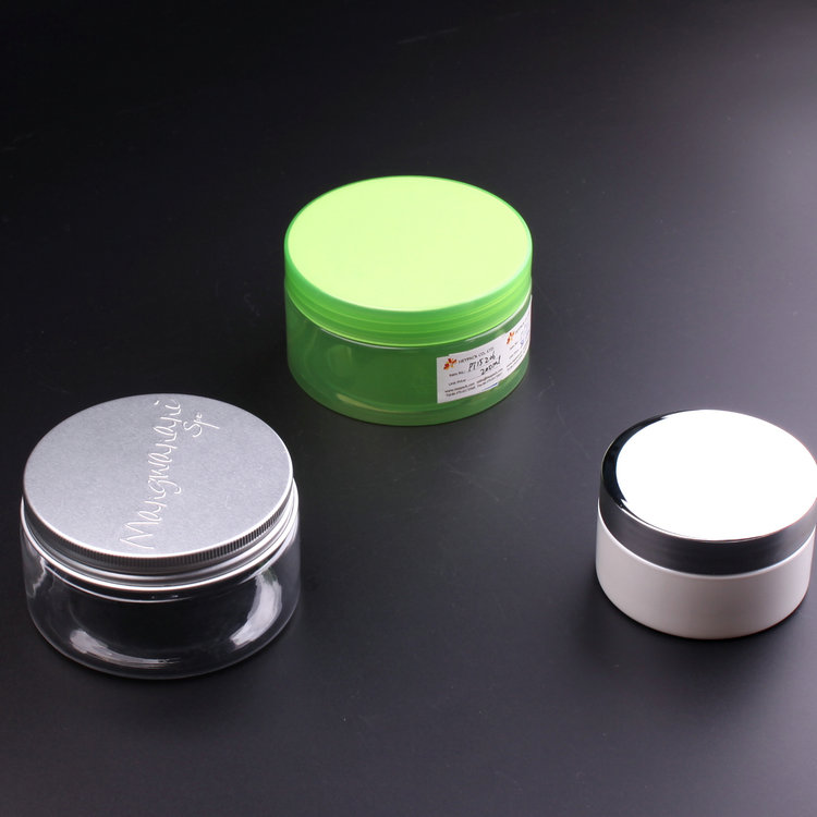 250ml 500ml clear cosmetic cream plastic PET jar with aluminum lid