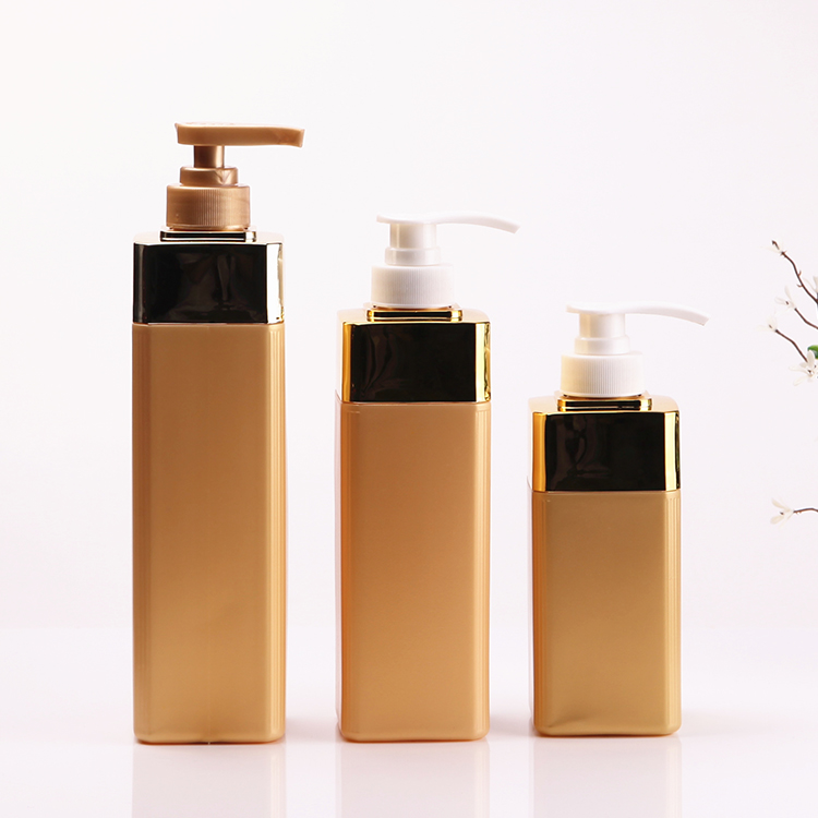 550ml Gold surface square hair shampoo bottle