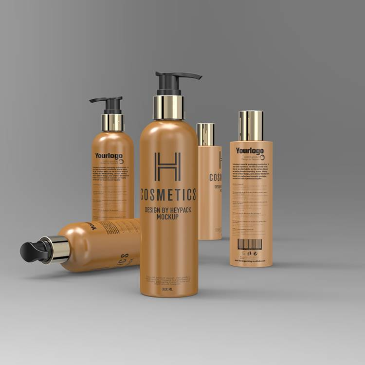 Gold pump Brown Color 250ml Body Lotion Bottle Packaging