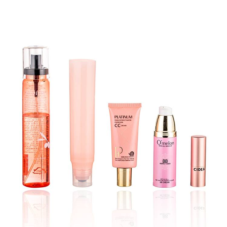 Moziturizing Spray Bottle, Sunscreen tube and Airless Serum Bottle  Rose Pink Skincare Cosmetic Packaging Mock-Up
