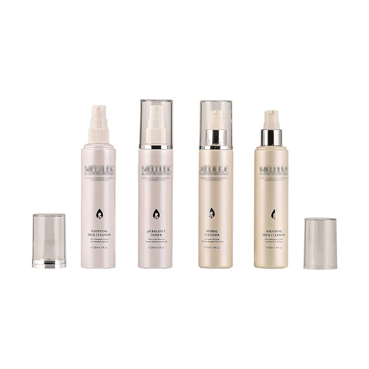 Pearl White Full Cover Silver Pump Spray 120ml Skincare Bottle For Face Cleanser, Toner and Eseence