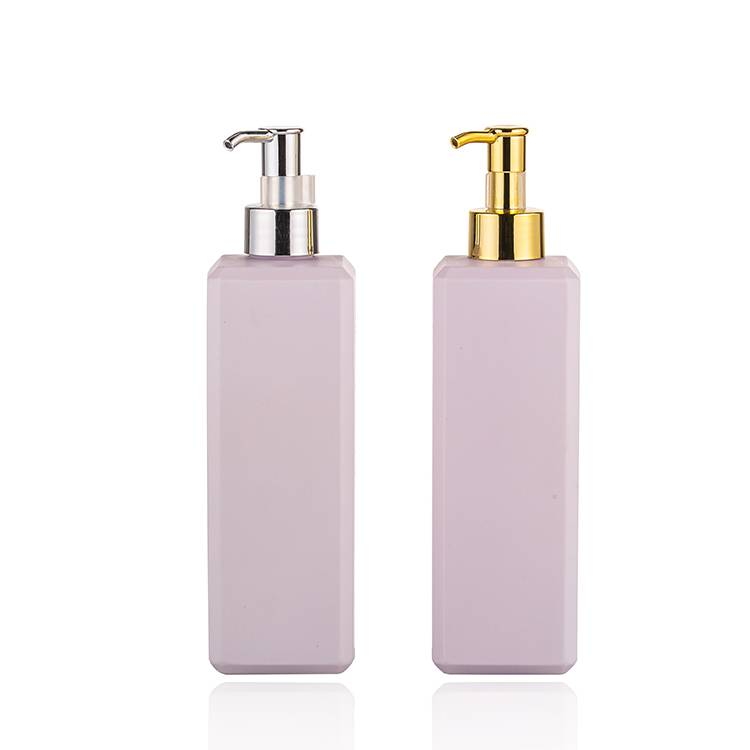 Gold & Silver Long Nozzle Pump 500ml Square Hair Oil Bottle