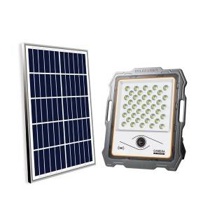 Solar Power Flood Light 760 Lm Cctv Camera 1080P HD Remote Controller For Safety Lighting
