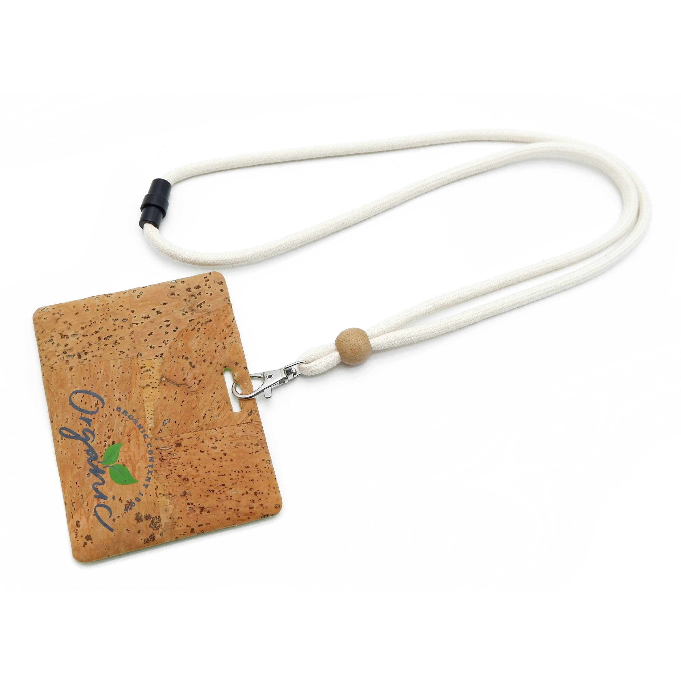 OS-0062 Cotton cord lanyard with cork badge holder