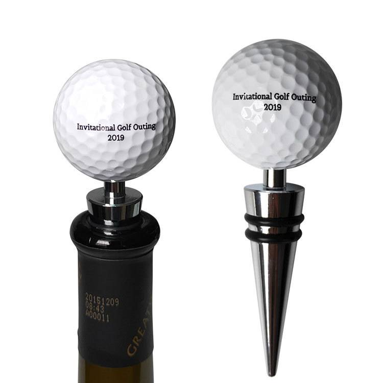 HH-0381 Promotional Golf Ball Wine Stoppers With Printed Logo