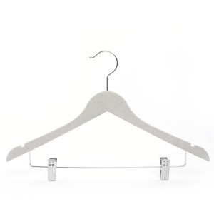 Lightweight Biodegradable Wheat Straw Fiber Clothes Hanger with Metal clip