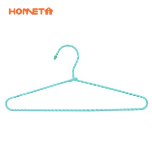 China Aluminium Hanger Manufacturers –  Fashion White and Green Non Slip Braided Cord Metal Clothes Hanger  – Lipu
