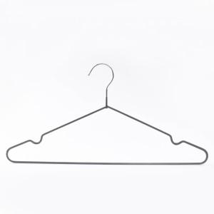 Rubber Coated Wire Hangers –  Heavy Duty Metal PVC Coated Gray Shirt Hanger With Anti Slip Notch – Lipu
